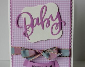 carte félicitations naissance, carte félicitations bébé fille , carte naissance bébé, carte faite mains, carte baby, carte violet
