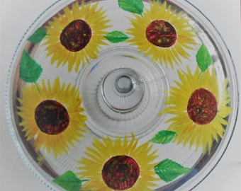Sunflower Cake Stand Hand Painted Sunflower Cake Pedestal Sunflower Glassware Sunflowers Painted Sunflower Cake Plate Sunflower Cake Stand