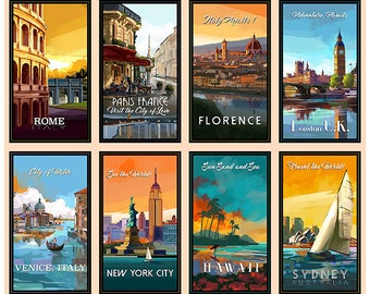 Travel Fabric, Destination City, Travel Posters Fabric - Artworks VIII -  26587 - Priced by the 36-Inch Panel