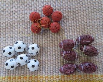 Mini sport ball craft pieces,6/pkg,soccer ball,basketball,football, polystone,sports