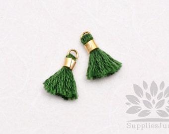 T010-GG// Grass Green Tiny 10mm Tassel, 6 pcs