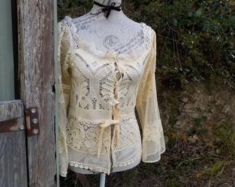 cream vintage lace blouse - bohemian olde worlde - cotton + silk -  adaptable size