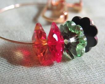 Rasta Crystal Hoop Earrings