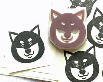 shiba inu rubber stamp | dog stamp | dog lover gift | diy birthday christmas card making | hand carved stamp by talktothesun