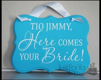 CUSTOM Here Comes The Bride Sign - Wood Sign - Wedding Sign Created Just For You In Your Wedding Colors