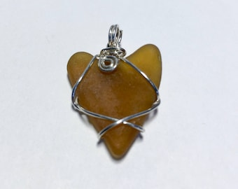 One of a Kind Amber Sea Beach Glass Pendant Artisan Wire-Wrapped with Argentium Silver
