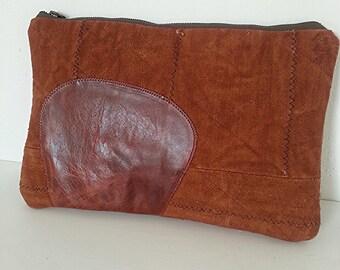 African Mud Cloth Fabric Clutch Purse, Brown Leather Clutch, Oversized Clutch, African Handbag