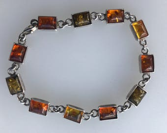 Cognac,green and yellow Baltic Amber 925 silver bracelet