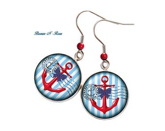 Earrings * anchor Navy * steel blue Beach sea glass cabochon