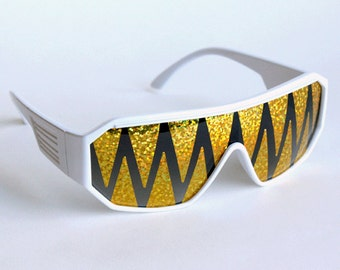 Rasslor Gold Shark Teeth White Shield Sunglasses