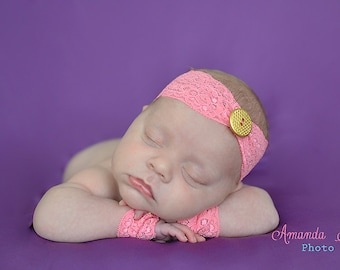 Made to order newborn infant soft lace wrist cuffs & headband set 1st photography prop baby girl vintage baby angel