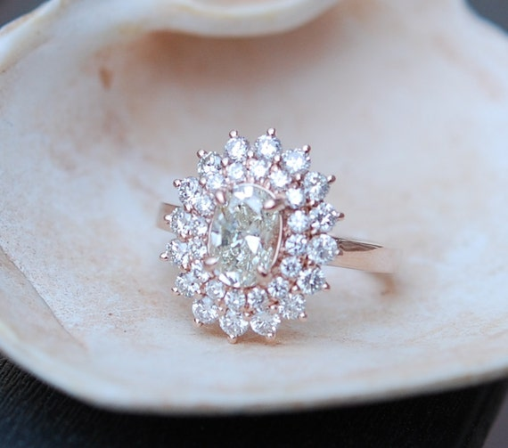 Oval engagement ring Engagement ring Oval Diamond ring 1ct Champagne diamond Rose gold ring engagement ring TDW 2ct.