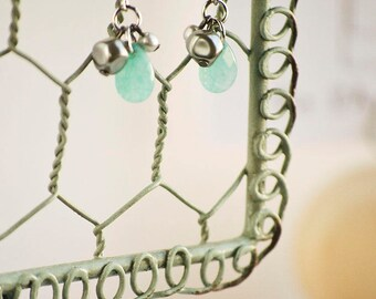 Silver Aqua Blue Bead Drop Dangle Earrings| Gifts for Her | Small Simple Earrings | Minimalistic Jewelry | Day to Night | Everyday Jewelry