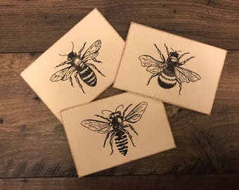 FREE SHIPPING | Bees | 4x6 Bee Signs | Mini Signs | Sign Trio