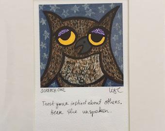 "Birdmagic: 8"" x 10"" Signed Print - SCREECH OWL"