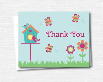 Spring Garden Thank You Note -  Girl Stationery - Garden Notecard - Folded Card - Thank You Note - INSTANT DOWNLOAD