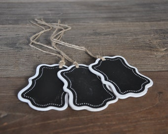 8/pk Chalkboard Tags w/ Jute; Chalkboard Labels; Chalkboard GIft Tags, Writable Chalkboard Tags