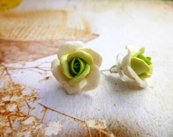 Rose earrings Green earrings Flowers earrings Shades of  Floral earrings Roses Jewelry Cute earrings Colorful Earrings