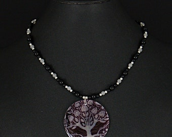 Tree of life shell pendant necklace with black obsidian and snow quartz by Sylvan Creations.
