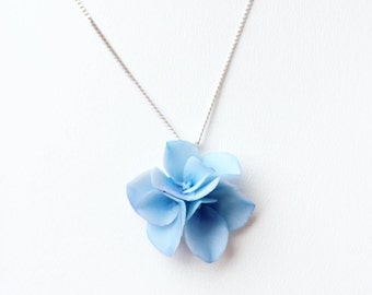 Blue hydrangea Pendant Floral Jewelry Pendant Blue Pendant Floral Necklace Gift for girl Blue flower necklake hydrangea flower pendant