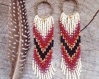Boho Seed Bead Earrings, Seed Bead Fringe Earrings, Chevron Earrings, Long Fringe Earrings, Ethnic/Boho Jewelry
