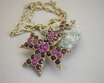 Vintage Lisner Rhinestone Maltese Cross Necklace Purple and Pink Rhinestone Necklace