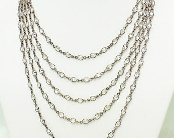 5 strand oval cubic zirconia oxidized sterling silver chain necklace