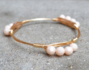 Gold Wire Wrapped Bangle with Light Pink or Gold Beads, Bourbon and Boweties Inspired