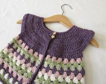 Crochet Baby / Girl's Granny Stripe Cardigan Written Pattern