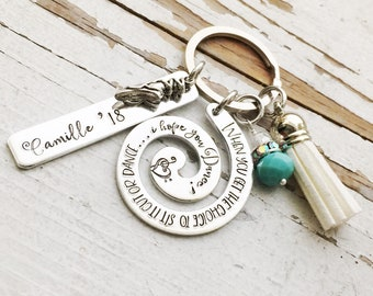 Hand stamped Graduation keychain when you get the choice to sit it out or dance I hope you dance mortarboard cap diploma school colors