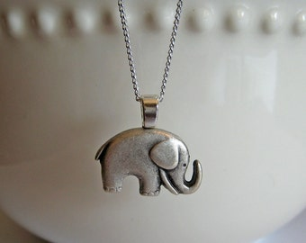 Silver Elephant Necklace - Lucky Charm Necklace, Button Jewelry, Elephant Jewelry, Animal Necklace, Good Luck Gift