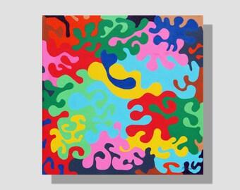 """Tableau carré coloré """"Optimisme"""". Feutres Posca sur toile, acrylique. Effet puzzle. art mural contemporain. tableau multicolore. home decor"""