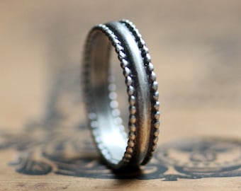 Silver rings for women, lace ring, sterling silver ring, beaded silver ring, unique silver ring, silver lace ring, oxidized, made to order