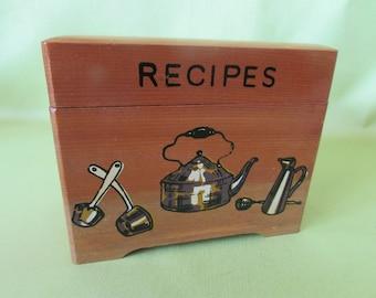 VINTAGE Wooden Recipe Box,, VINTAGE Kitchen Decal,,  VTG Recipes Box,,  Mid-Century Trinket Box
