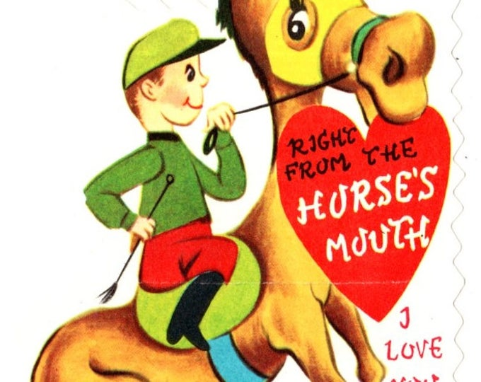 Vintage Horse Racing Right From the Horse's Mouth I Love You Die-Cut Children's Classroom Valentine's Day Card UNUSED