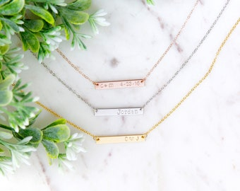 Rose Gold Bar Necklace, Personalized Bar Necklace, Name plate necklace, Name bar necklace, bridesmaid gifts, Custom Bar Necklace, Gold Bar