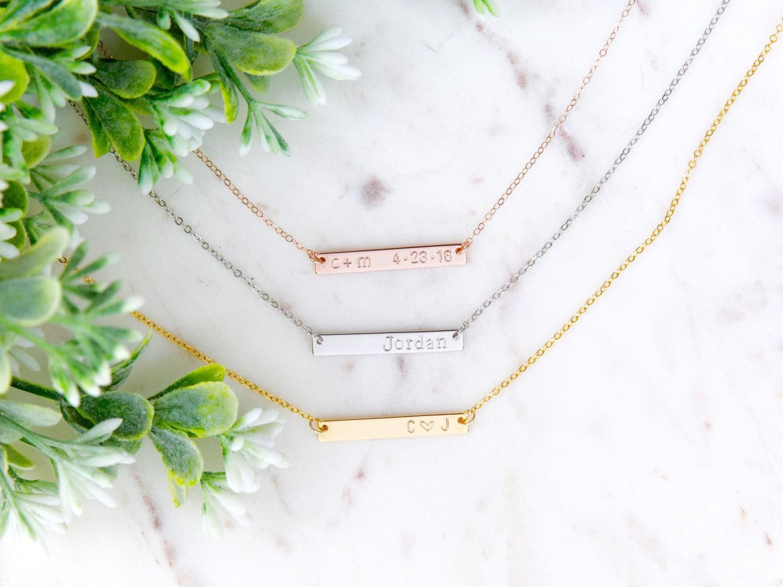 Rose Gold Bar personalisierte Bar Halskette Name Platte Name