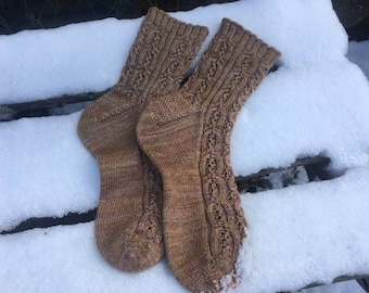 A Gentle Path - Cables & Lace Sock Pattern