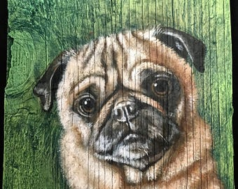 "Pug Painting on Weathered Plywood, ""Rocky"""