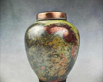 Gold Copper Green Ceramic Urn, Keepsake Urn, Pet Urn, Raku