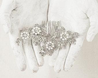 Flower Bridal Comb - Wedding Hair Comb - Bridal Comb Headpiece - Crystal Bridal Comb - Rhinestone Wedding Comb - Wedding Hair Piece