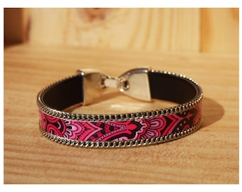 Cuff 10 mm leather artificial chain