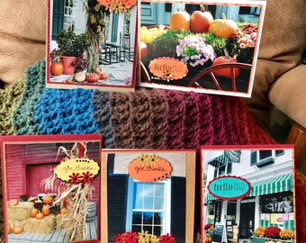 5 Handmade Thanksgiving Fall 2D cards.