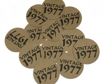 40th Birthday - Vintage 1978, Stickers - Round 1 1/2 Inch, Kraft with Black Print or Your Colors, Set of 12