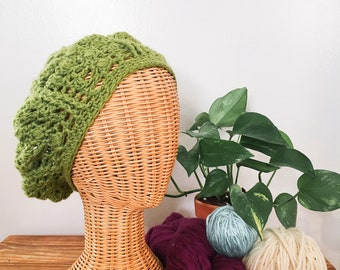 Crochet Puff Beret in Apple Green