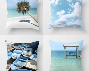Coastal Pillow Set-4 Throw Pillow Covers-Ocean Decor-Beach Decor-Nautical Decor-Teal Outdoor Pillow Covers-Blue-Gray-Palm Tree-Boats
