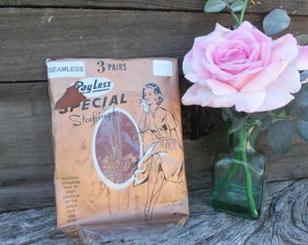 Vintage Stockings, Hosiery, Three (3) Pair of Nylon Hosiery, PayLess Special Stockings, BURLESQUE, New in Package, Size 9, Cinnamon