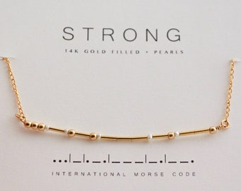 Pearl Morse Code Necklace / Aunt Gift / Friend Gift / Reminder Choker Necklace / Dainty Pearl Gold Chain Necklace / Mom Grandma Gift Secret