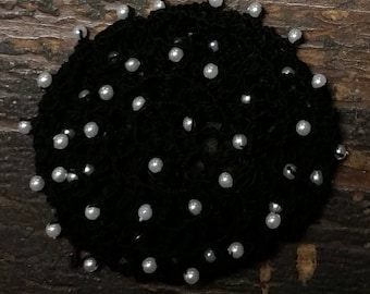 Beaded Hair Bun Cover- in Cotton Crochet Thread with Beads on Alternating rows