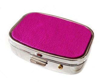 Magenta Lambskin Leather Pillbox - by UNEARTHED